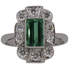 18Karat Gold Baguette Cut Green Tourmaline & Diamond Art Deco Style Cluster Ring