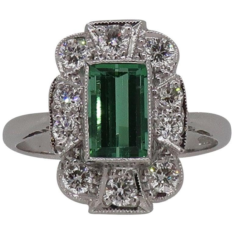 18Karat Gold Baguette Cut Green Tourmaline & Diamond Art Deco Style Cluster Ring For Sale