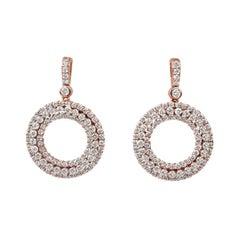 18karat Gold Dangle Earring Rose Gold Cluster Double Halo Circle Diamond Earring