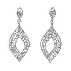 18karat Gold Dangle Earring White Gold Cluster Multi Halo Leaf Drop Diamond