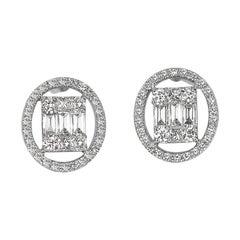18karat Gold Earring White Gold Baguette Emerald Cut Illusion Hallo Diamond Post