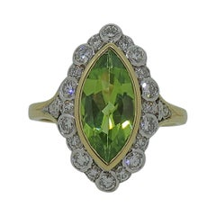 18Karat Gold Marquise Navvette Cut Peridot & Diamond Art Deco Style Cluster Ring