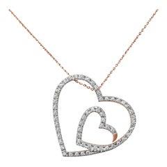 18karat Gold Pendant Necklace Rose Gold Diamond Pave Heart Shape