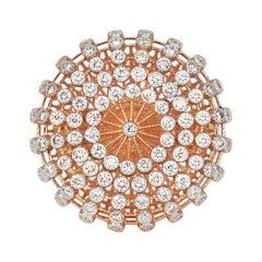 18Karat Gold Ring Rose Gold Diamond Pave Ring Fancy Gold Ring