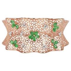 18karat Gold Rose Gold Diamonds Pave Emerald Round Oval Fashion Open Cuff Bangle