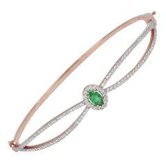 18karat Gold Rose Gold Emerald Oval Diamond Pave Bangle Bracelet