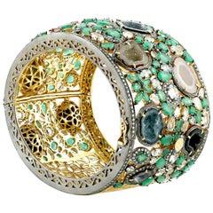 18Karat Gold Silver Diamond Geode Sapphire 19.52 Ct Emerald Cuff Bangle Bracelet