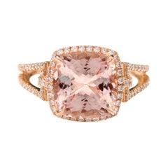 18Karat Rose Gold 4.05 Carat Cushion-Cut Pink Morganite and Diamond Cluster Ring