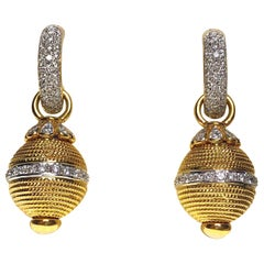 18 Karat Gold and 2.10 Carat, Diamond Hoop with Detachable Gold and Diamond Drop