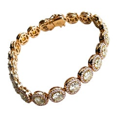 18KP D12.71 LY SI1-SI2 CTRS-10.77 'Round' Natural Diamond Bracelet