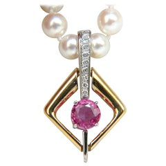 18KT 1.83CT Natural Vivid Pink Sapphire Enhancer and Japanese Pearl Necklace