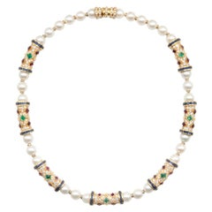 18KT 44.57 Carat Pearl and Gemstone Vintage Retro Necklace