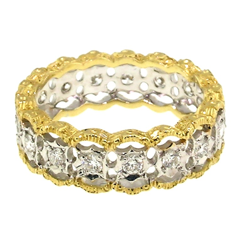 Round Cut 18kt and 0.90ct Diamond Hand Engraved Eternity Band, Handmade in Florence, Italy For Sale