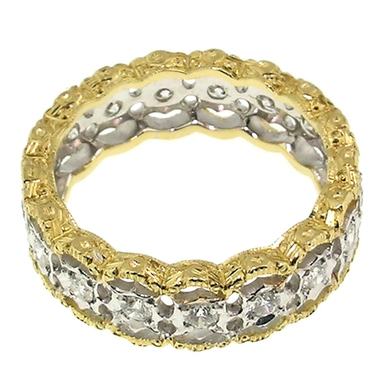 18kt and 0.90ct Diamond Hand Engraved Eternity Band, Handmade in Florence, Italy In New Condition For Sale In Logan, UT