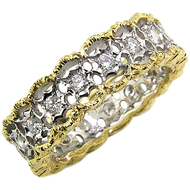 18kt and 0.90ct Diamond Hand Engraved Eternity Band, Handmade in Florence, Italy For Sale