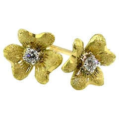 Floral 18kt Yellow Gold and Diamond Earrings, Made in Florence, Italy
