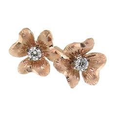 Floral 18kt Rose Gold and Diamond Earrings, Made in Florence, Italy