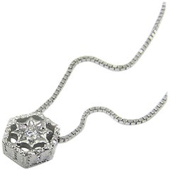 18kt and Diamond Pendant Necklace, Handmade and Hand Engraved in Italy
