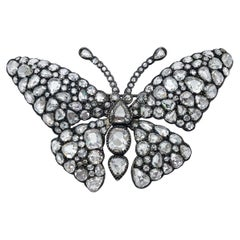 18KT Blackened White Gold Butterfly Brooch with 23.13 Carat Rose Cut Diamonds