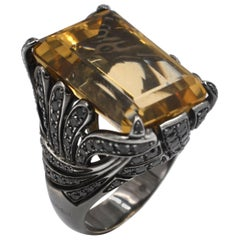 18Kt Blk White Gold One of a Kind Yellow Topaz and Black Diamonds Garavelli Ring