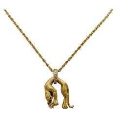 18KT Carrera y Carrera Panther Pendant with Bezel Set Diamond and Diamond Bale
