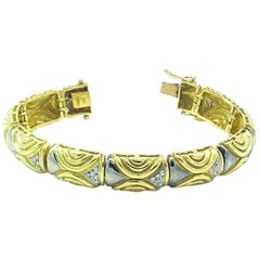 18 Karat Diamond .75 Carat Link-Yellow, Over 1 Ounce Bracelet