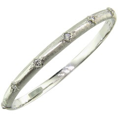 18kt & Diamond Andrea Bangle in White, Handmade and Engraved in Florence, Italy