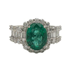 18Kt Emerald and Diamond Ring