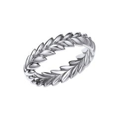 18kt Fairmined Ecological Gold Ethereal Laurel Leaf Wedding Ring in White Gold