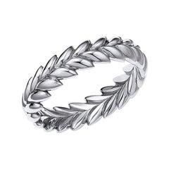 18kt Fairmined Ecological Gold Ethereal Laurel Leaf Wedding Ring in White Gold