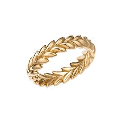 18kt Fairmined Ecological Gold Ethereal Laurel Leaf Wedding Ring in Yellow Gold