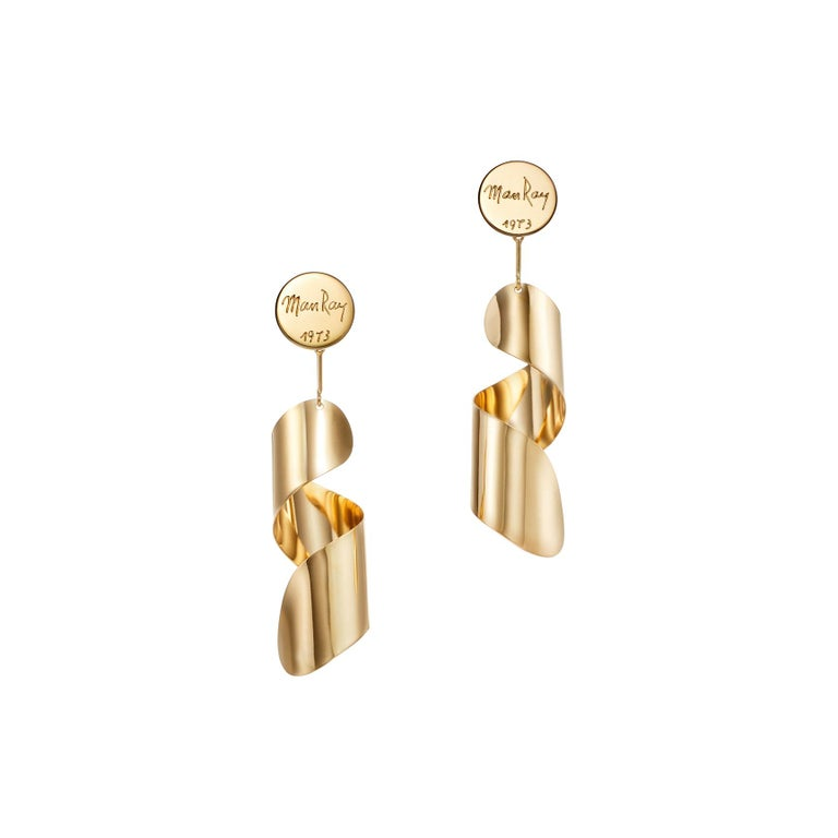 18kt Fairmined Ecological Yellow Gold Man Ray Drop Lampshade Earrings For Sale