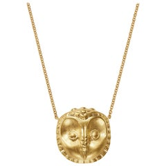 18kt Fairmined Ecological Yellow Gold Owl Ibis Pendant Necklace