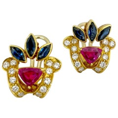 18KT Gold, 1.78 Carat Ruby, 1.59 Carat Sapphire, and .81 Carat Diamond Earrings