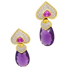18KT Gold, 34.3Ct. Amethyst, 3.07Ct. Pink Tourmaline and Diamond Drop Earrings