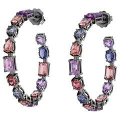 18kt Gold 8.20CT Amethyst 3.20CT Iolite 9.25CT Tourmaline Hoop Earrings Modern