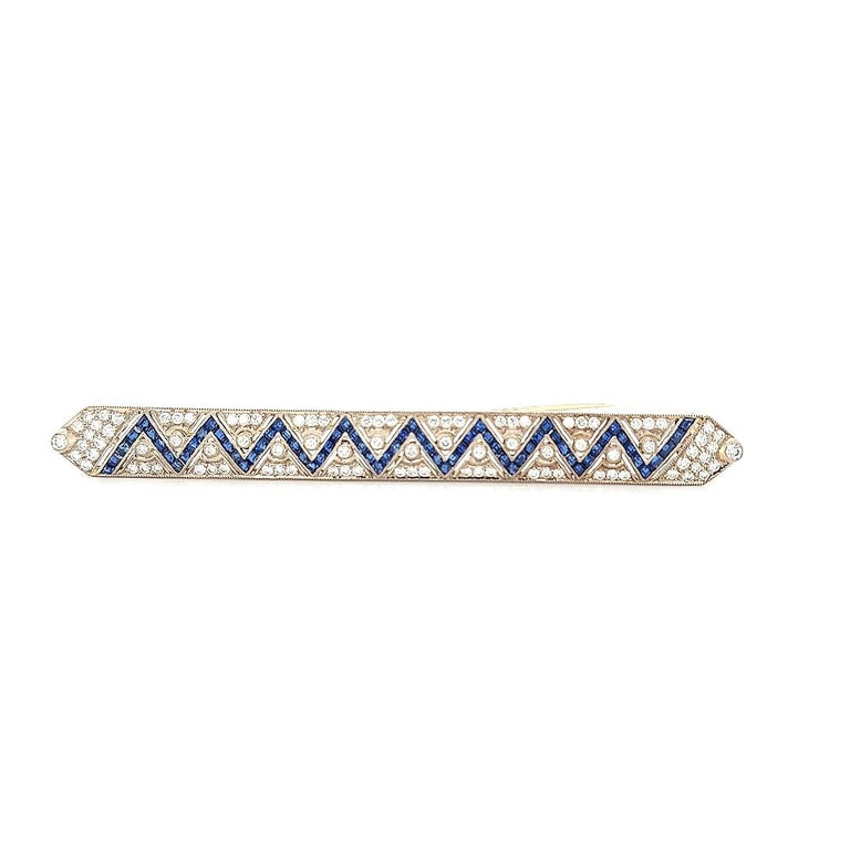Women's or Men's 18 Karat Gold Large Brooch with Zig Zag Sapphires and Diamonds For Sale
