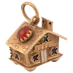 18 Karat Gold and Cabochon Red Glass House Charm