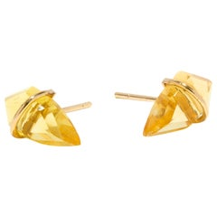 18 Karat Gold and Citrine Post Earrings