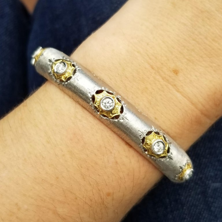 Women's 18kt Gold and Diamond Florentine Engraved Bangle, Handmade in Italy For Sale