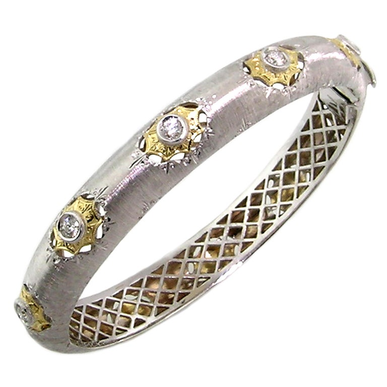 18kt Gold and Diamond Florentine Engraved Bangle, Handmade in Italy For Sale