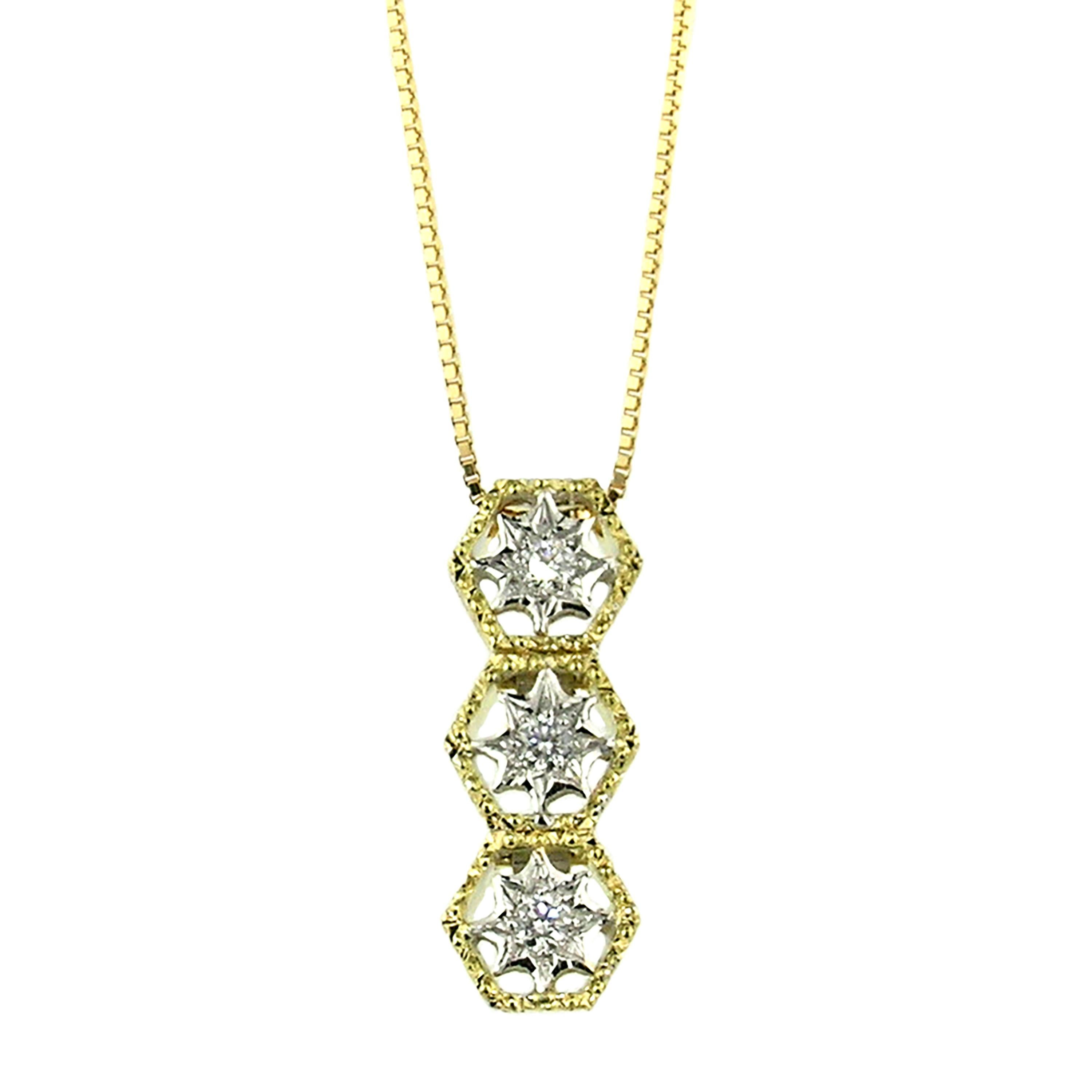 18kt Gold and Diamond Necklace, Hand Engraved and Handmade in Italy