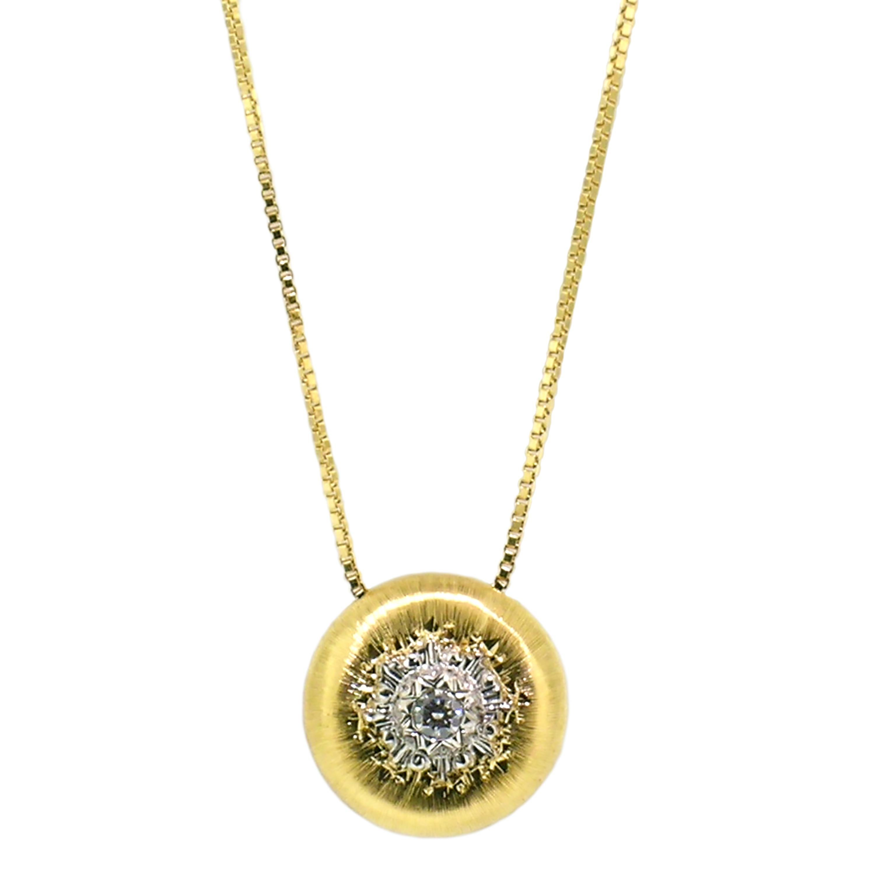 18kt Gold and Diamond Pendant Necklace, Handmade and Hand Engraved in Italy