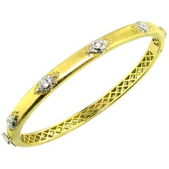 0.35ct Diamond and Florentine Engraved 18kt Bangle, Handmade in Florence, Italy