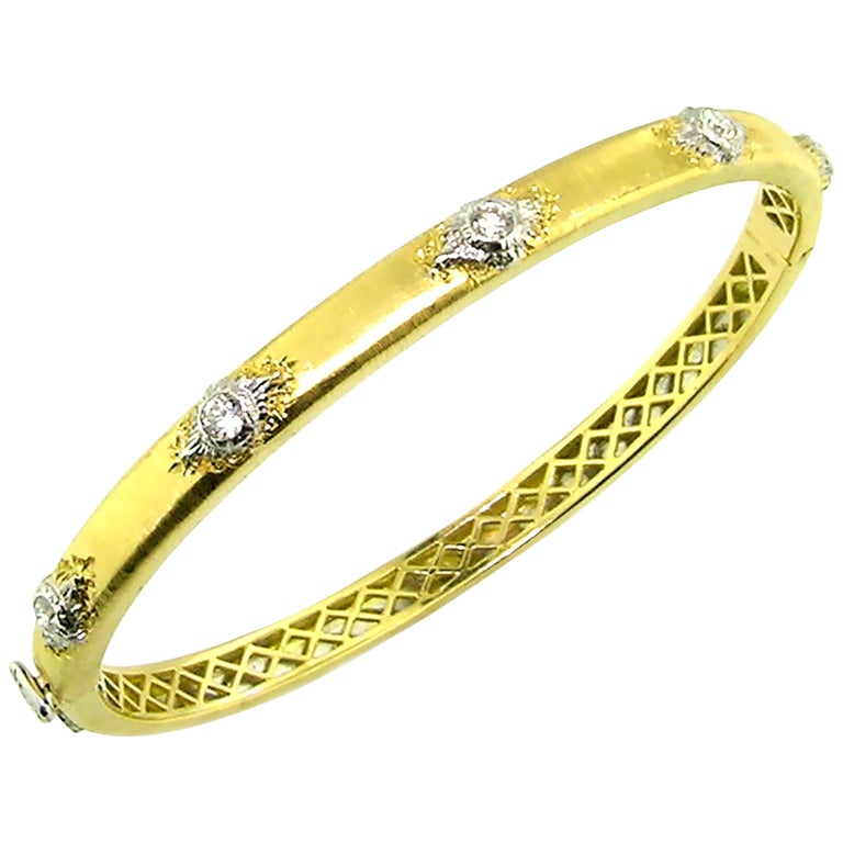 18kt Gold and Diamond Valentina Bangle, Handmade and Engraved in Florence, Italy For Sale