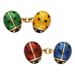 18 Karat Gold and Enamel Ladybug Cufflinks