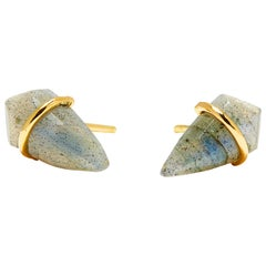 18 Karat Gold and Labradorite Post Earrings