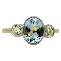 18 Karat Gold and Platinum Ladies Ring with Diamonds and Aquamarine, 1990s