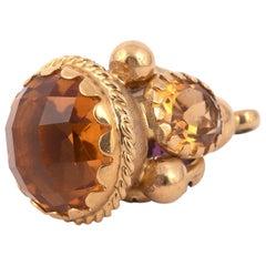 18 Karat Gold and Semi Precious Stone Charm