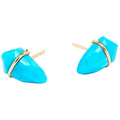 18 Karat Gold and Turquoise Kite Earrings